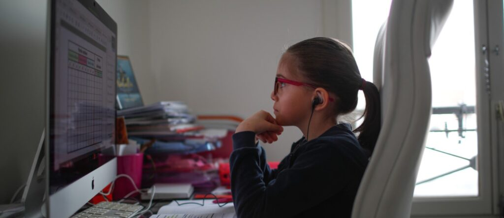 student studying on computer